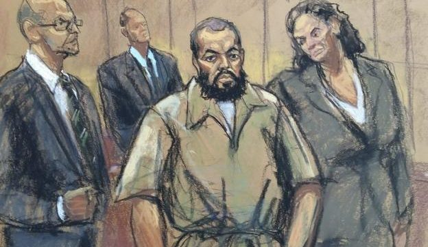 Ahmad Khan Rahami, accused of carrying out bombing attacks in New York and New Jersey in September, 2016, is shown in this courtroom sketch with attorney David Patton (L) and Peggy Cross-Goldenberg, as he appears in federal court to face charges in Manhattan, New York, U.S., November 10, 2016.  REUTERS/Jane Rosenberg
