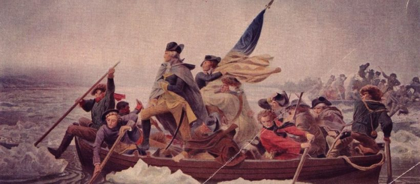 General George Washington (1732 - 1799) stands in the prow of a rowing boat crossing the Delaware to seek safety in Pennysylvania after defeat by the British.   (Photo by Hulton Archive/Getty Images)